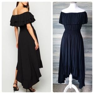 Black ruffle off shoulder fiesta dress